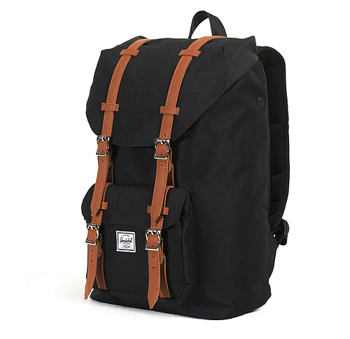 HERSCHEL Plecak Little America Backpack Mid-Volume Black/Tan Synthetic Leather (10020-00001) - SS17